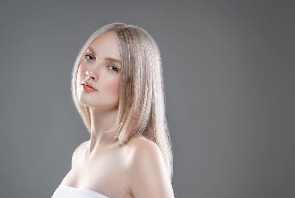 woman with platinum blonde hair