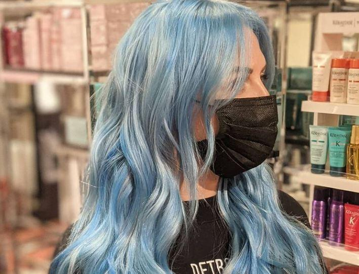 Woman with professionally dyed fashion hair color